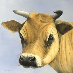 ROY MERRINGTON - LARGE ENGLISH PAINTING - HEAD PORTRAIT OF JERSEY COW