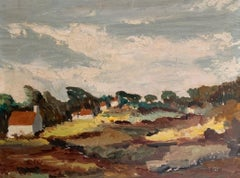 Mid Century French Windswept Landscape signed oil painting - fresh colours