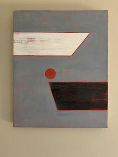 French Geometric Abstract oil painting, c.1990