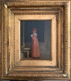 19th Century Portrait Elegant Young Lady before a Mirror with Hat, signed oil