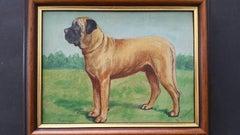 English School Mid 20th Century Oil Painting Mastiff Broomcourt Romeo Dog