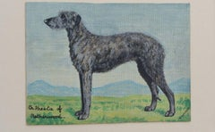 English School Mid 20th Century Oil Painting Deer Hound Dog Painting