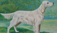 English School Mid 20th Century Oil Painting English Setter Dog Painting