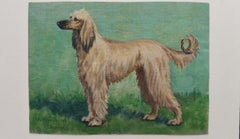 English School Mid 20th Century Oil Painting Afghan Hound Dog Painting