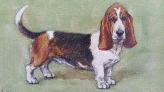 English School Mid 20th Century Oil Painting Basset Hound