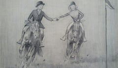 English Sporting Art 1930s Huntsman & Hunts Lady Galloping on Horses