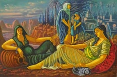 Classical Maidens Eastern Landscape Huge British Surrealist Oil Painting