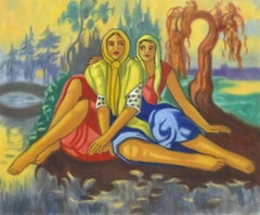 Two Ladies in Landscape - British Surrealist Oil Painting