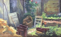 The Cottage Garden Sunny Colourful View - French Post-Impressionist Signed oil