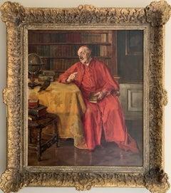 HANS KRATZNER (1874-1927) SIGNED GERMAN OIL - CARDINAL IN BOOK LINED INTERIOR