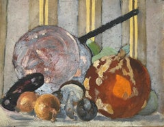 Mid 20th Century French Oil Kitchen Vegetables Still Life Onions Mushrooms