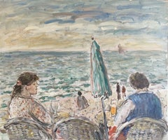 Figures at Beach Cafe Looking out to Brittany Coastline Seascape French oil