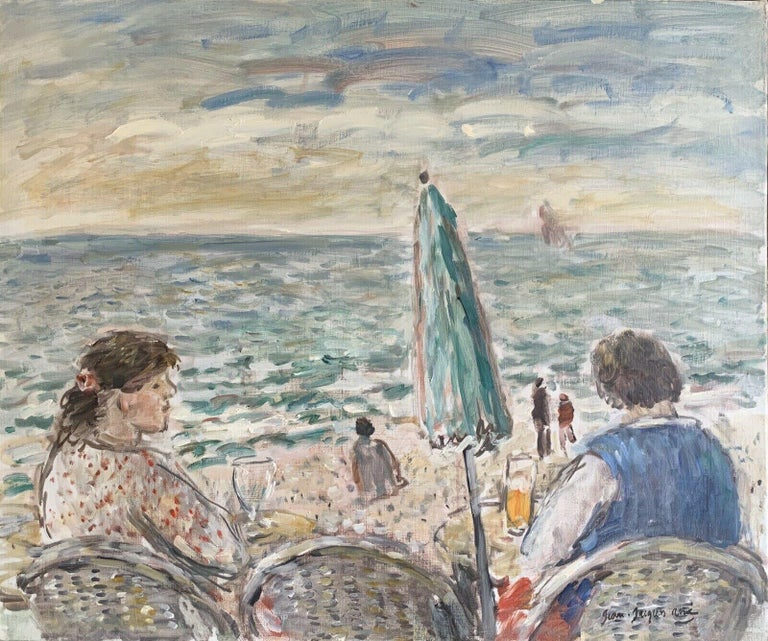 JEAN-JACQUES RENE (b.1943)  Landscape Painting - Figures at Beach Cafe Looking out to Brittany Coastline Seascape French oil