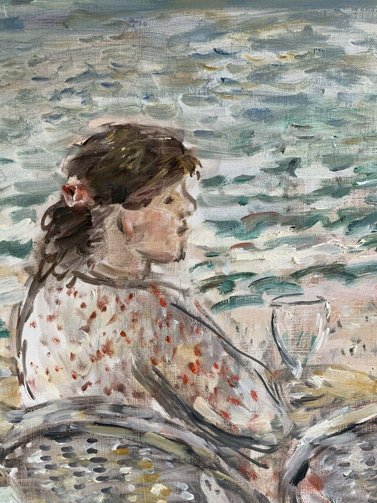 Figures at Beach Cafe Looking out to Brittany Coastline Seascape French oil - Painting by JEAN-JACQUES RENE (b.1943)