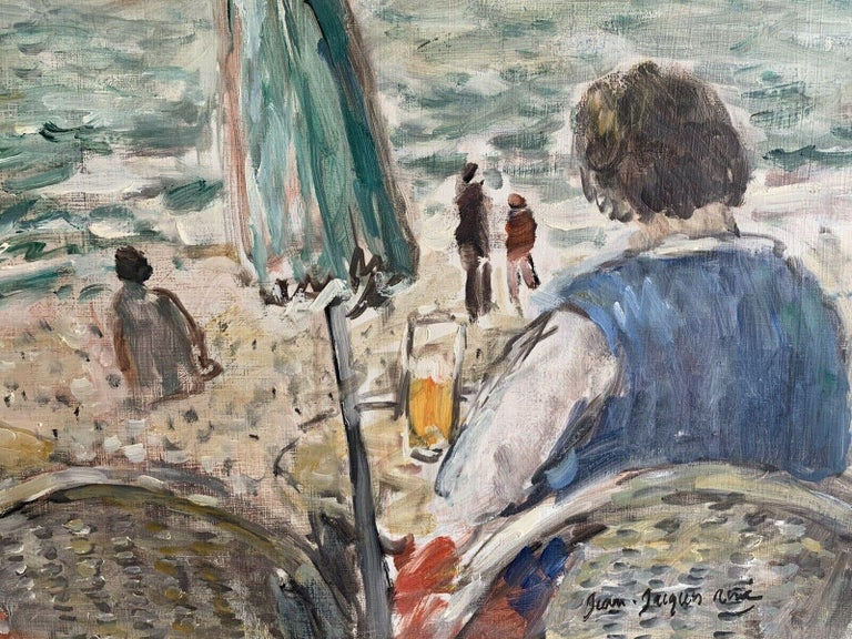 Figures at Beach Cafe Looking out to Brittany Coastline Seascape French oil - Impressionist Painting by JEAN-JACQUES RENE (b.1943)