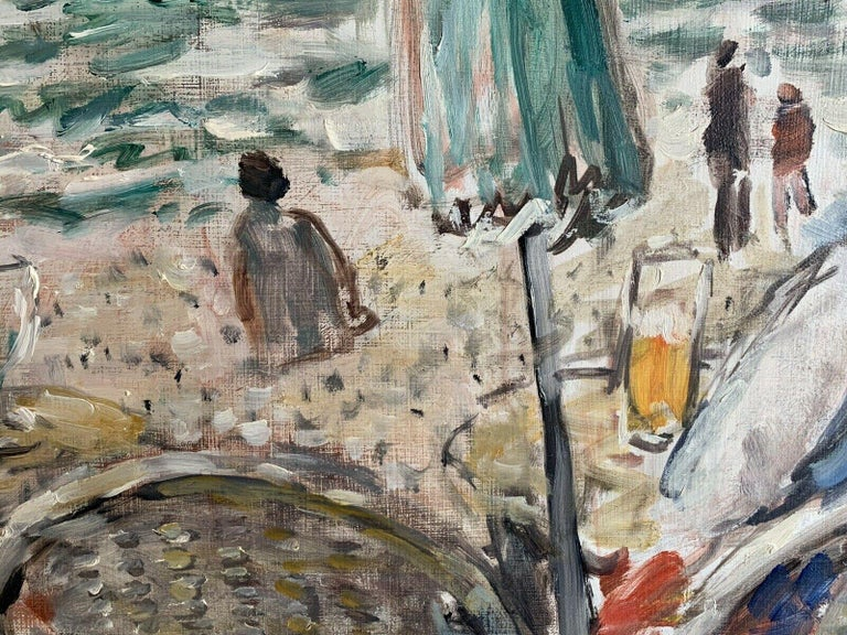 Figures at Beach Cafe Looking out to Brittany Coastline Seascape French oil For Sale 1