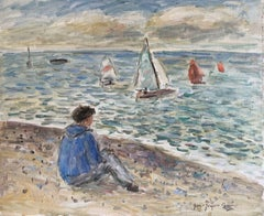 Signed French Oil - Sailing Dinghies at Sea Brittany Coastline