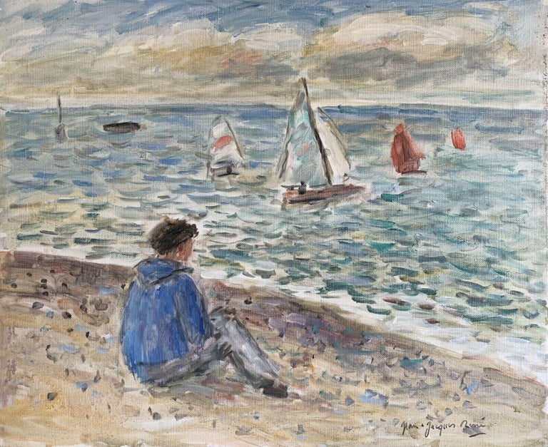JEAN-JACQUES RENE (b.1943)  Landscape Painting - Signed French Oil - Sailing Dinghies at Sea Brittany Coastline
