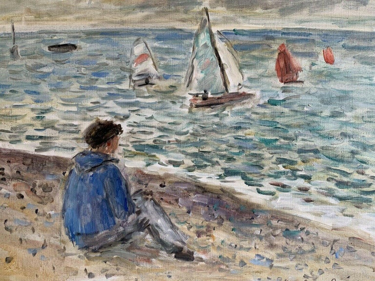Signed French Oil - Sailing Dinghies at Sea Brittany Coastline - Painting by JEAN-JACQUES RENE (b.1943)