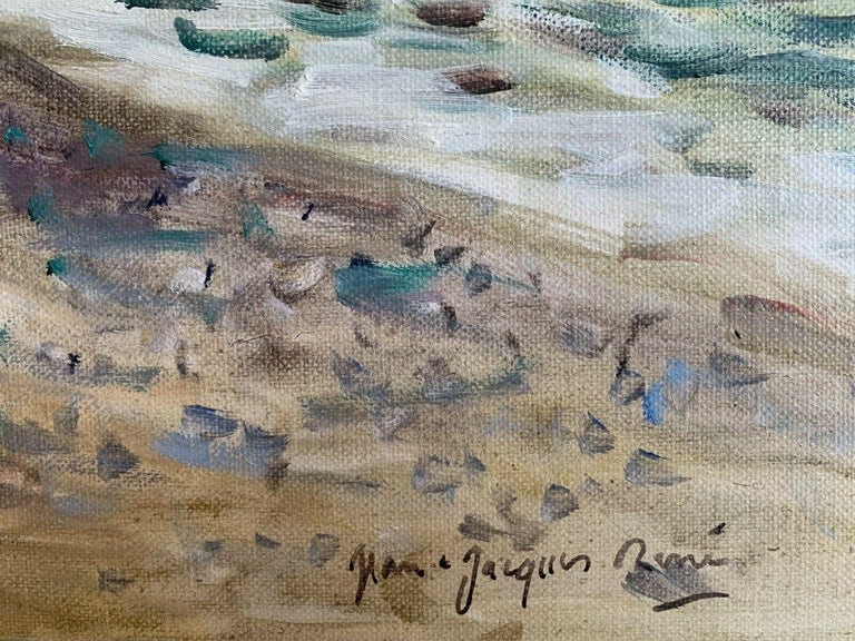 Signed French Oil - Sailing Dinghies at Sea Brittany Coastline - Gray Landscape Painting by JEAN-JACQUES RENE (b.1943)