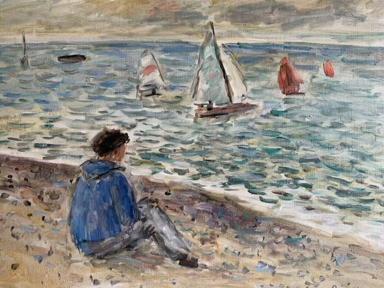 Signed French Oil - Sailing Dinghies at Sea Brittany Coastline For Sale 1