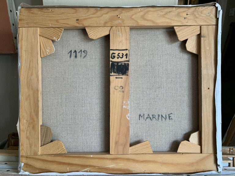 Signed French Oil - Sailing Dinghies at Sea Brittany Coastline For Sale 2