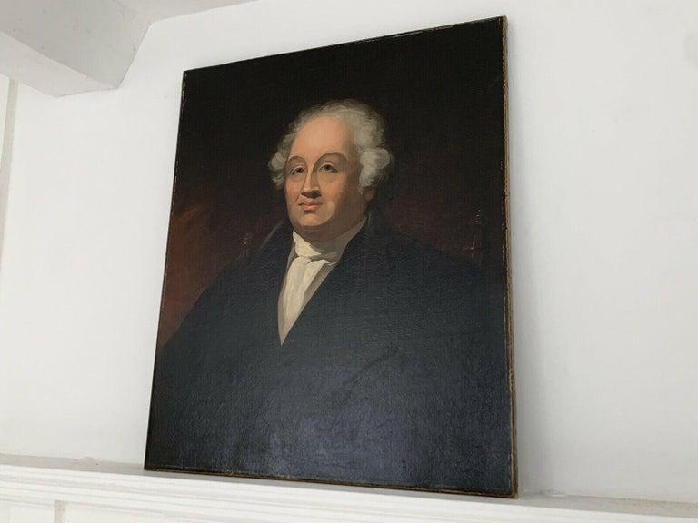 C.1820 BRITISH SCHOOL OIL PAINTING - PORTRAIT OF GEORGIAN COUNTRY GENTLEMAN - Painting by Georgian School