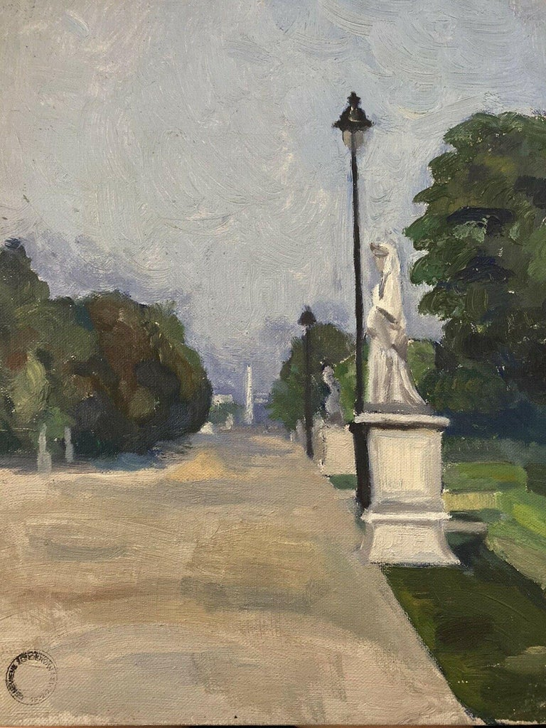 GENEVIEVE ZONDERVAN (1922-2013) Landscape Painting - 20th CENTURY FRENCH OIL PAINTING - CITY STREET SCENE & PARK WITH STATUES