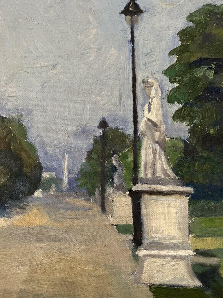20th CENTURY FRENCH OIL PAINTING - CITY STREET SCENE & PARK WITH STATUES - Painting by GENEVIEVE ZONDERVAN (1922-2013)
