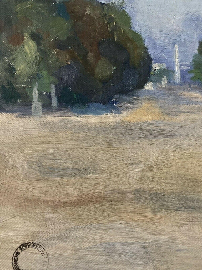 20th CENTURY FRENCH OIL PAINTING - CITY STREET SCENE & PARK WITH STATUES - Gray Landscape Painting by GENEVIEVE ZONDERVAN (1922-2013)