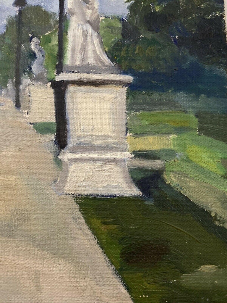 The Park by Geneviève Zondervan (French 1922-2013) oil painting on board  board: 13.75 x 10.5 inches  Very fine 20th century oil painting on board by the French artist, Geneviève Zondervan (French 1922-2013). The painting has excellent provenance,