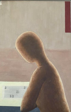 FRENCH SURREALIST OIL PAINTING FIGURE IN DEEP THOUGHT