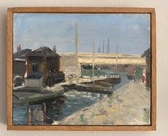 GENEVIEVE ZONDERVAN (1922-2013) FRENCH IMPRESSIONIST OIL PAINTING - CANAL LOCK