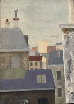 GENEVIEVE ZONDERVAN (1922-2013) FRENCH OIL PAINTING - VIEW OVER CITY ROOF TOPS
