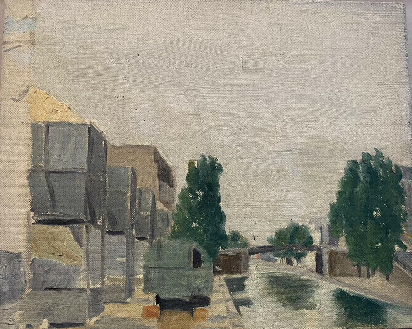 MID CENTURY FRENCH OIL PAINTING - BESIDE THE CANAL