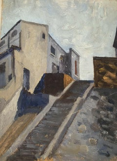 MID CENTURY FRENCH OIL PAINTING - THE OLD CITY STEPS