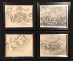 Set of Four 1930's Motor Car Racing Original Drawings Signed Dated Framed