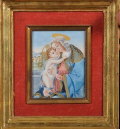 19th Century Italian Miniature Painting The Madonna & Child, Signed original