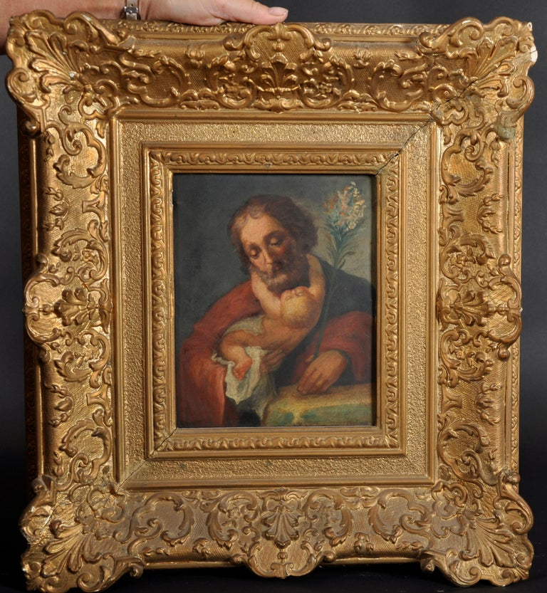 Saint Joseph with Baby Jesus 18th Century Italian Old Master oil on copper - Painting by Italian artist
