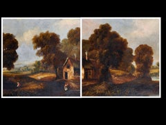 Pair Victorian Large Oil Paintings Country Woodland Scenes Cottages & Figures