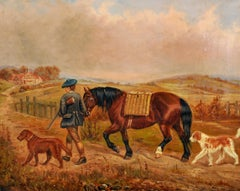 Antique British Sporting Oil Painting Horse & Dogs with Scottish Hunter
