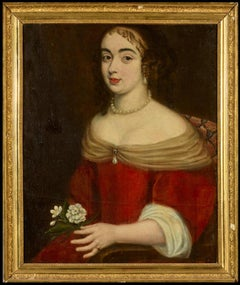 17th Century Portrait Marquise de Grugière Fine Aristocratic Lady, Large Oil