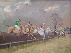 Fine British Horse Racing Oil Painting 'Steeple Chase' signed and dated 1970