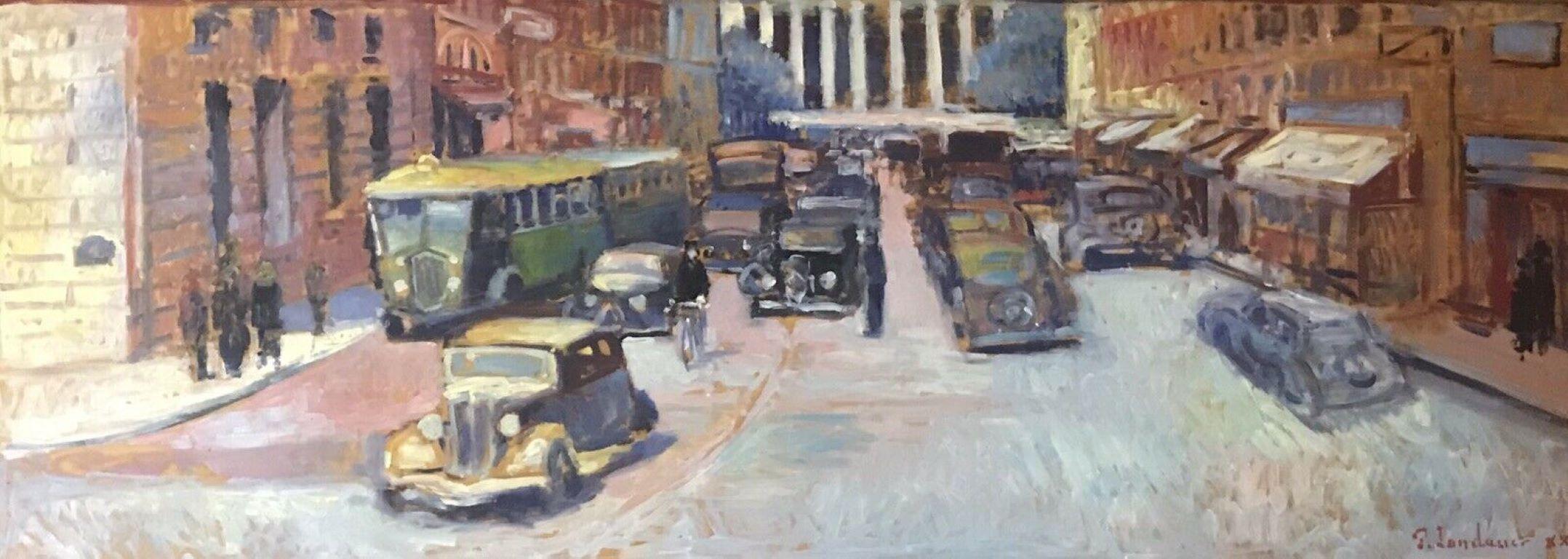 Huge Signed French Impressionist Oil - Bustling Parisian Street Vintage Scene