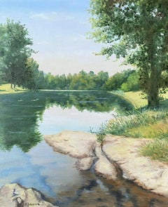 Colourful 20th Century French Impressionist Lakeland Tranquil Scene