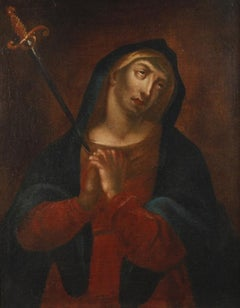 The Mater Delarosa, Large 18th century Italian Old Master Sorrowful Mary