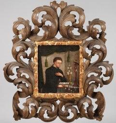 17th Century Italian Old Master Fine Portrait of St. Nicholas in Rare Wood Frame