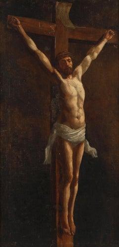 c.1890/1900 FINE ITALIAN OIL PAINTING - CHRIST ON THE CROSS - CHIAROSCURO STYLE