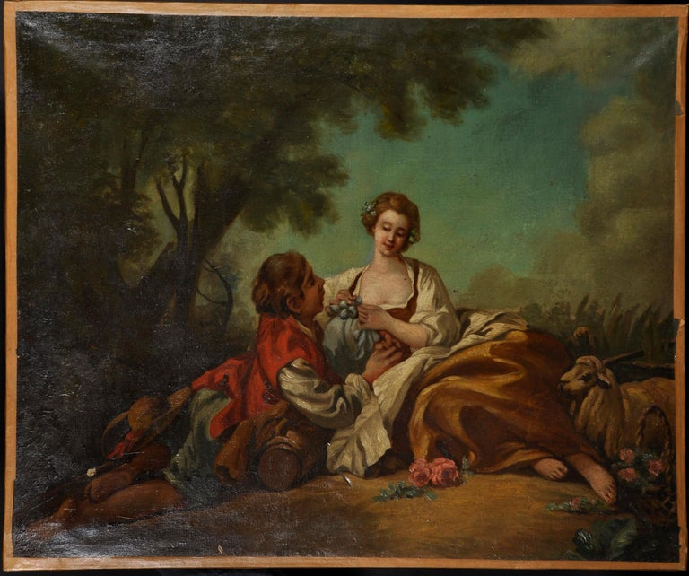 Fine Large 1800's French Rococo Oil Painting - Courting Shepherd Pastoral scene - Black Animal Painting by Follower of Jean-Honore Fragonard