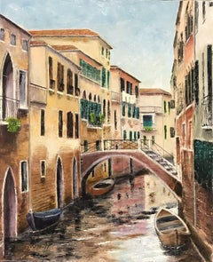LARGE SIGNED OIL PAINTING - TRANQUIL VENICE CANAL BACKWATER